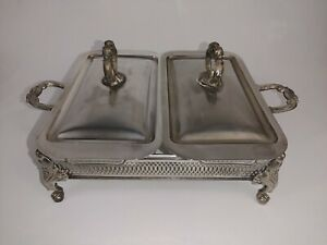 Vintage Dual Anchor Hocking Fire King Ovenware Dish Silver Plated Warming Tray