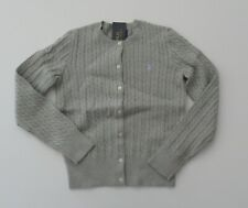NWT Ralph Lauren Girls LS Gray Mini Cable Cotton Cardigan Sweater Sz 6 NEW $40