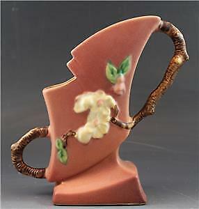 """1940s Roseville Pink Apple Blossom 373-7"""" Art Pottery Handled Vase"""