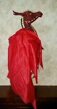"""Red Dragon  Puppet Prop Decoration Holiday Halloween- Head 8×8"""" w/Cape 27"""""""