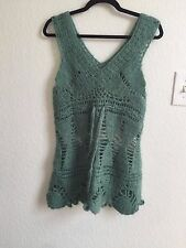 Korean Handmade Crochet Sleeveless Sweater Dress Vest Mohair Tunic Top XS S 2 4