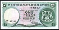 1975 Royal Bank of Scotland Limited £1 Banknote * B/1 208339 * gVF+ *