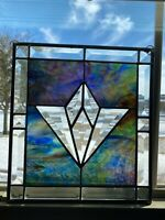 Vintage Leaded STAINED GLASS PANEL ~ Window Sun Catcher