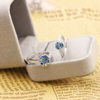 Iron Man Arc Reactor 925 Silver Ring Blue Couple Lovers Rings Adjustable Size