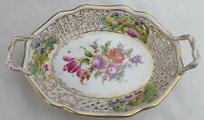 ANTIQUE MEISSEN DRESDEN RETICULATED BASKET PLATE WITH FLORAL