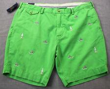 RALPH LAUREN Bedford Men Green Shark Fins & Surf Boards Chino Shorts NWT 42 $125