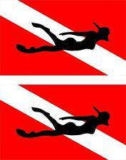 2x Sticker adesivi adesivo bandiera dive diver diving immersioni scooter macbook