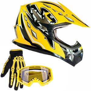 New Youth Yellow Motocross Helmet w/ Yellow Gloves Goggles Kids Combo ATV UTV