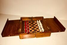 C-1890 Victorian Era Whittington Travel Chess Set Jaques Type EUC
