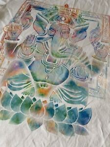 Womens Size 12 Medium White Buddah Elephant Hippie Style T Shirt
