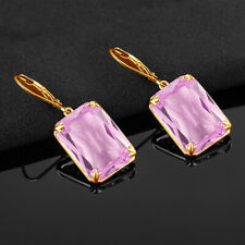 Big Size Pink Crystal Drop Earrings 925 Sterling Silver & Gold Plated Fine