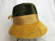 ae1e2b120f607 Vtg Womens Bucket Hat Faux Fur Cloche Train 1940's 60s 70s Hippie Green  Yellow