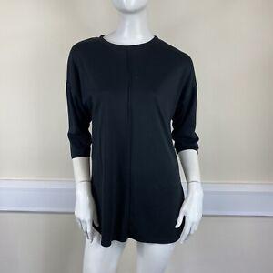 Primark Ladies Black Stretch Seam Front 3/4 Sleeve T-Shirt Top UK Size 6-8