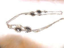NECKLACE ;SARAH COVENTRY SILVER TONE BLACK FACED STONES  1979