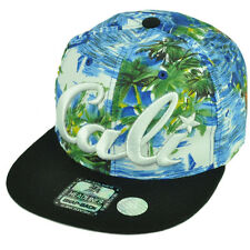 Cali California Hawaiian Floral Crown Black Flat Hat Cap Snapback Satin Ocean