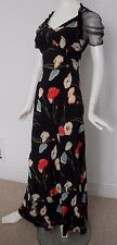 Stunning Vintage 1930's Silk Bias Cut Poppy Print Gown with Net Back Glamorous