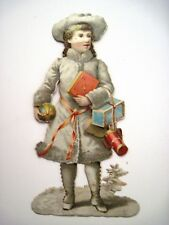 Vintage Christmas Die Cut w/ Girl in White Coat Holding Pink & Blue Gifts  *