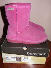 """BEARPAW,"""" EMMA"""", pom/berry, wool blend/sheepskin, girls, winter boots. Size 3"""