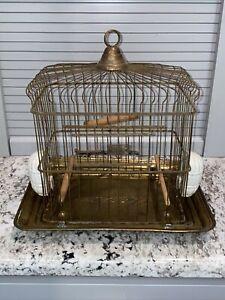 "Antique Victorian Petite Brass HENDRYX Antique Metal Birdcage - 12X12X9"""