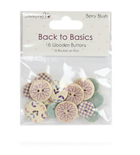 Dovecraft Back to Basics Berry Blush - 16 Wooden Buttons - Pink/Purple