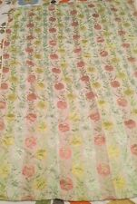 """Pink Yellow Cream Floral Embossed Fabric Curtain Vintage 47"""" Drop x 33"""" Width"""