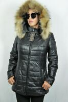 WOMEN 100% REAL LAMBSKIN LEATHER PUFFER JACKET COAT LINED RACCOON FUR XS-6XL