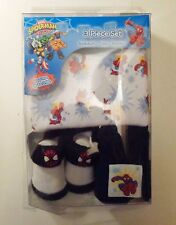 NWT 0/6 Months Boy 3 Pc Spiderman White Red Blue Bodysuit Booties Cap Outfit Set