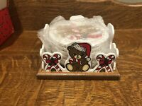 Vintage House of Lloyd 1988 Teddy Bear Christmas Coaster Set of 6 w Holder Round
