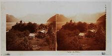 Rhin Suisse Allemagne Plaque de verre positve stéréo 8,5x17cm c. 1905