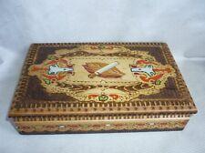 Antique Wooden Cigarette Case Holder Pokerwork Handmade