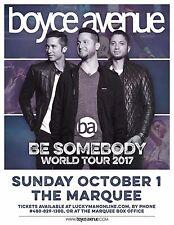 "BOYCE AVENUE ""BE SOMEBODY WORLD TOUR 2017"" PHOENIX CONCERT POSTER - Pop/Alt Rock"