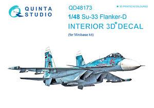 Quinta QD48173 1/48 Su-33 3D-Printed & coloured interior (for Minibase kit)