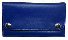 leather tobacco pouch soft good quality zipped wallet blue colours