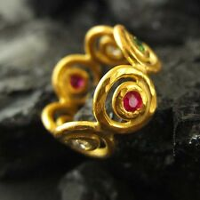 Handmade Designer Double Circle Emerald Ruby Topaz Ring GoldOver Sterling Silver