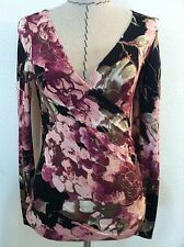 New Vintage 80's womens top crossover sexy floral black pink bodycon size M