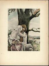 Lovers Embracing Under a Tree Nudity Beauty nice 1937 Art Deco Erotica print