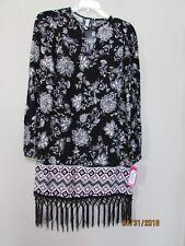 New women size XS xhilaration BOHO Fringe Dress Black White Floral Burgundy