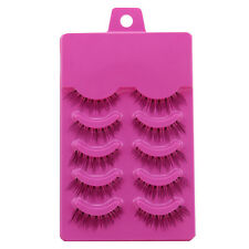 Hot Sale 5Pairs Paragraph Tapered Clear Band False Eyelashes Beauty makeup Tools
