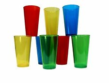 8 Crystal Styrene Pint Pub Glasses 2 ea Red Blue Green Yellow  Made in America