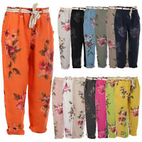 Ladies Italian Floral Belted Trouser Women Elasticated Waist Summer Linen Pants