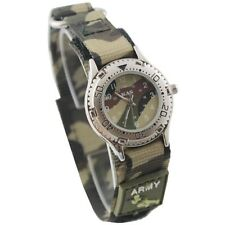 KAS KIDS ARMY CAMOUFLAGE WATCH VELCRO STRAP BOYS GIRLS SOLDIER GIFT MILITARY