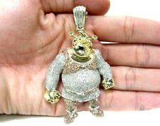 6.25 Ct Round White & Pink Sim Diamond Shrek Pendant14K Two Tone Plated Silver