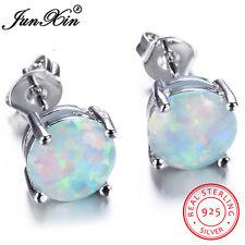 Junxin Women Classic 925 Sterling Silver Round Cut White Fire Opal Stud Earrings