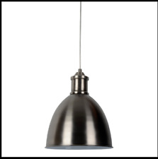 Threshold Howin Large Industrial Metal Pendant Light Silver HX-C0408 Bell Shape