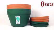 8x 33cm Red Earth Planter with Saucer Flower Pot Home Garden Planter #3210