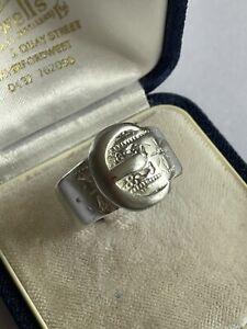 Vintage 80's Sterling Silver Wide Belt Buckle Band Ring Size V 1/2 6.5G Mens
