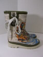 Ed Hardy Childs Rain/Snow Boots gray with  tiger, female pirate, indian sz 1 EUC