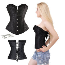 Ladies Trim Women Goth Corset Basque Dress Bustier Plus Waist Trainer Nightwear
