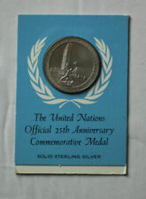 Official 1970 United Nations 25th Anniversary Commemorative Sterling Silver Coin
