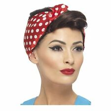 Ladies 40s Rosie Housewife Wig & Red Polka Dot Headscarf Wartime Retro Vintage